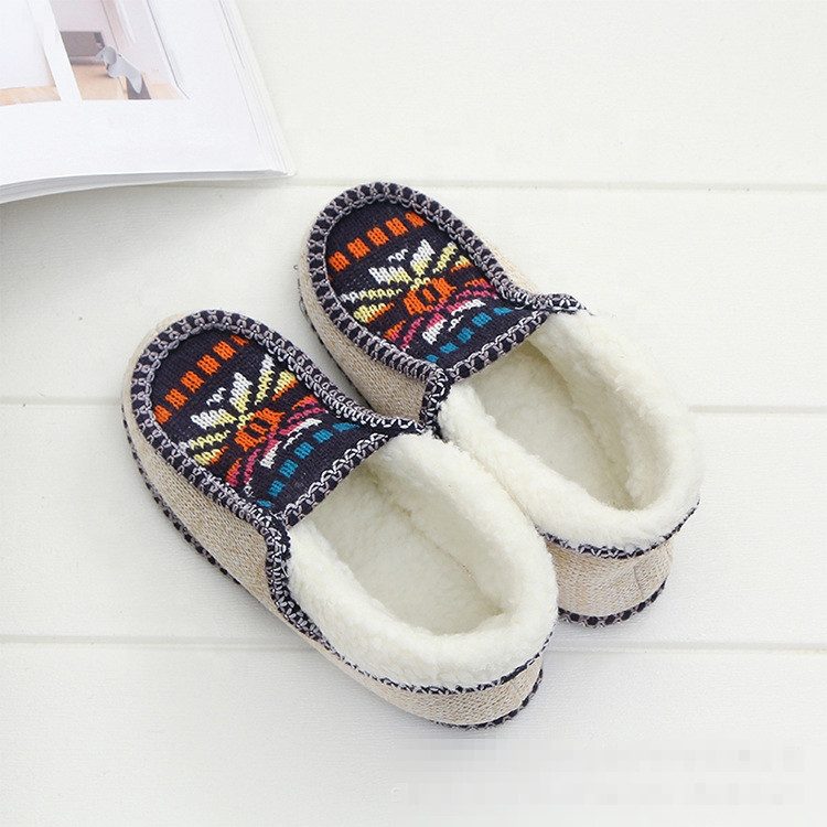 Amazon hot sale winter woman warm knitted fabric fur indoor home slipper shoes
