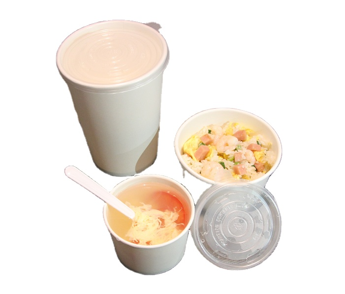 Wholesale biodegradable 16oz white paper soup cup with PLA coated