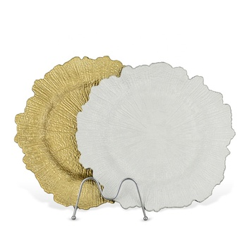 Wholesale 13 Inch Cheap Elegant Gold Black Acrylic Dinning Reef Plastic Charger Plates For Wedding