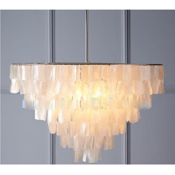 Modern Hand Cut and Strung Tiers of Luminous Natural Grand Shell White Chandelier Pendant Lamp