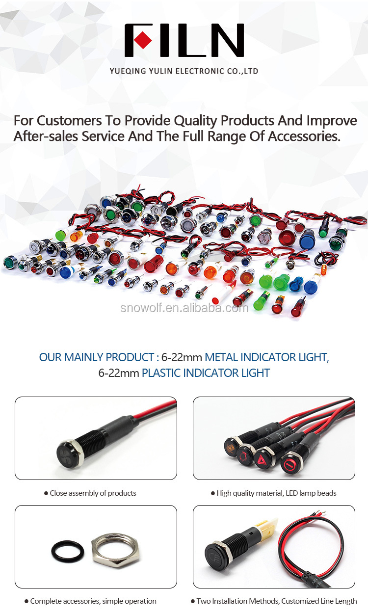 8mm black housing led red yellow white blue green 12v led indicator light with 20cm cable