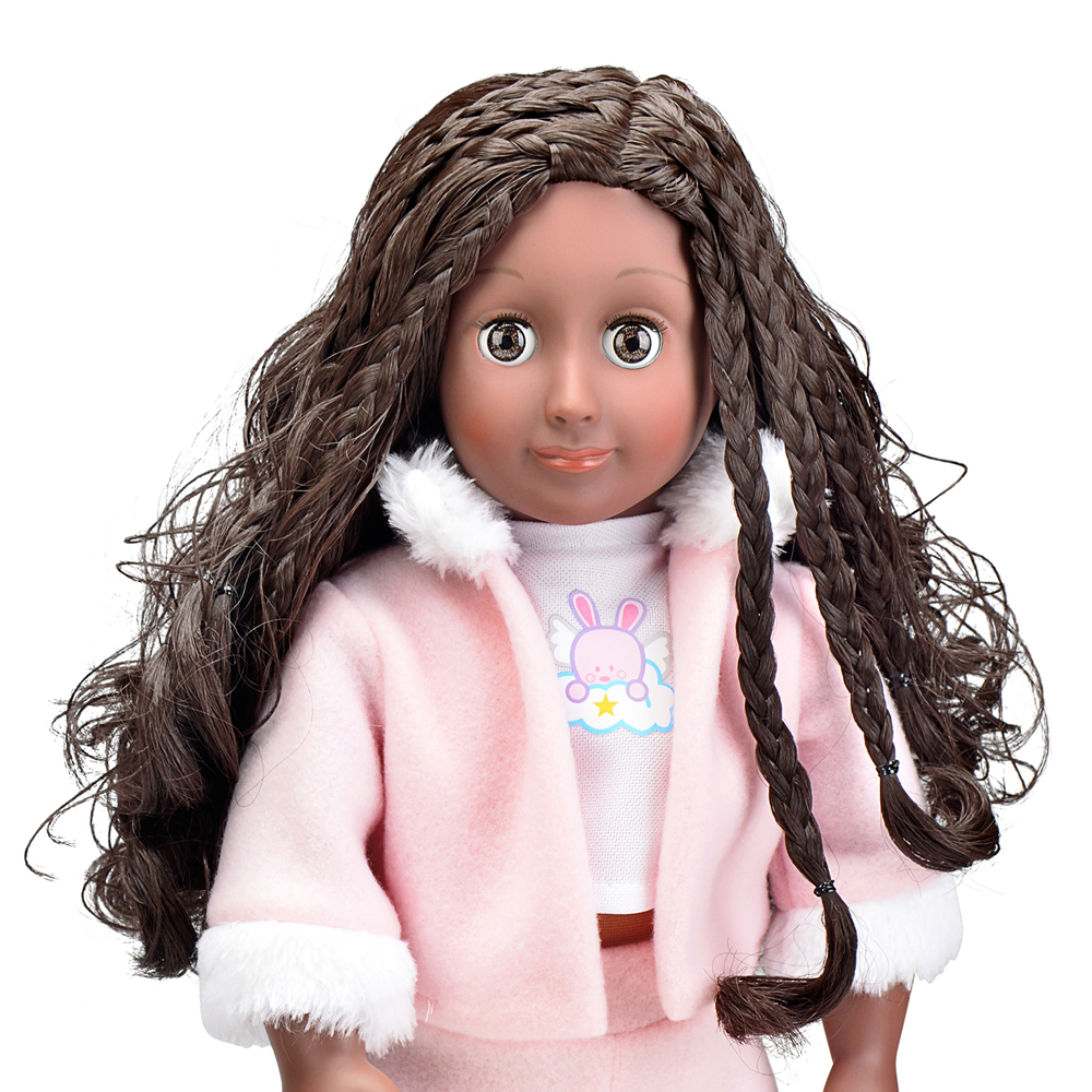 18 inch Cute African American Girl Toy Cotton Body Black <strong>dolls</strong> with blinking eyes for a girl