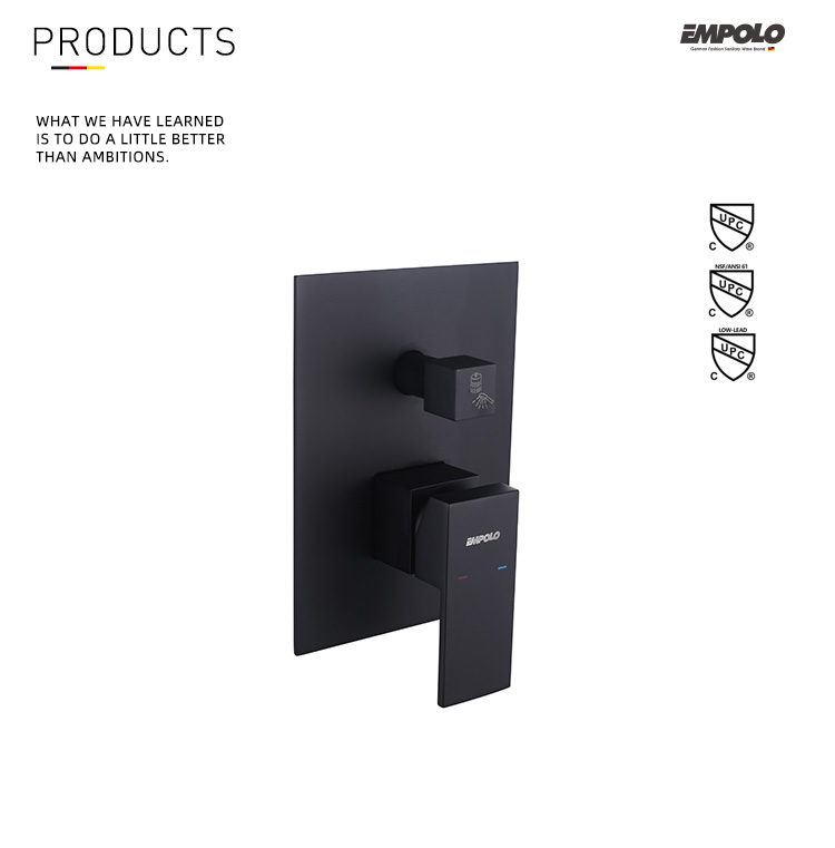 2 Functions black in wall mixer valve tap set shower Mixer