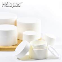 HOLAPAC free sample 3g 5g 10g 15g 30g 50g 80g white matte double plastic cream cosmetic packaging Jar <strong>container</strong> manufacture