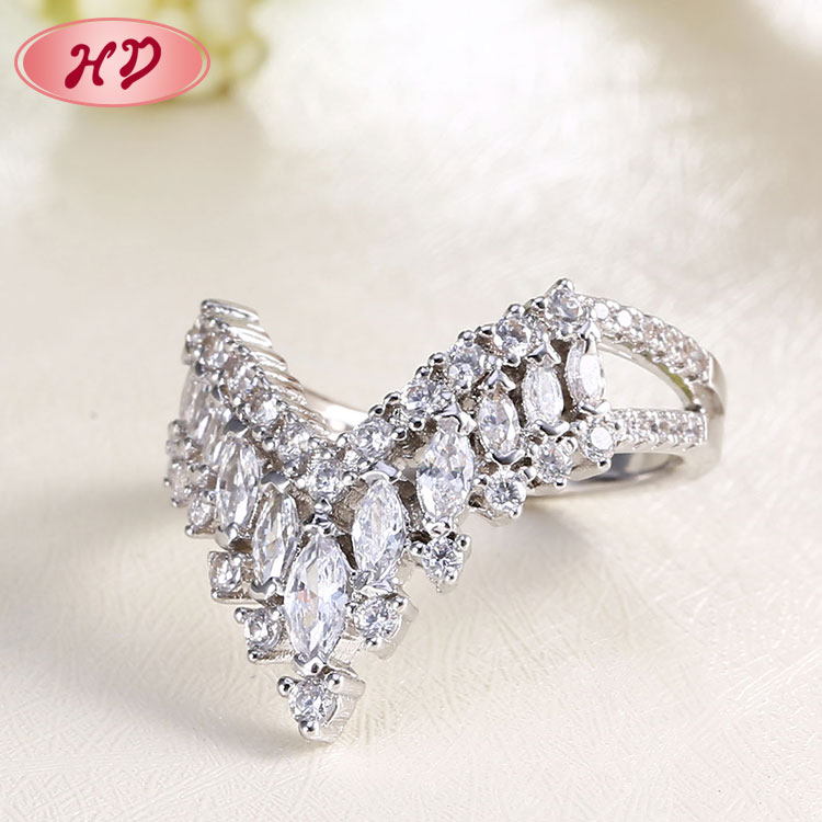 Accessories Jewelry Women Cubic Zirconia Anniversary Wedding Silver Rings With Diamonds