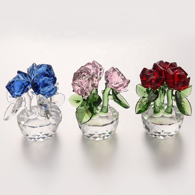 High quality crystal red rose flower Valentine's Day Mother's Day wedding gift home decoration