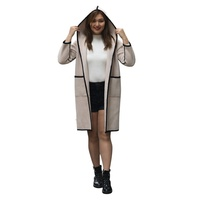 Wholesale over size fashion casual pink ladies long coat hooded coat