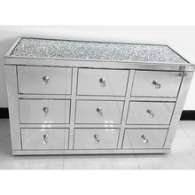 Best selling crushed diamonds on top 9 drawers mirrored cabinet