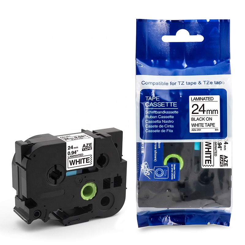 Aimo Laminated Cassette Tapes 24mm Black on White Aze-251 <strong>Label</strong> for Brother
