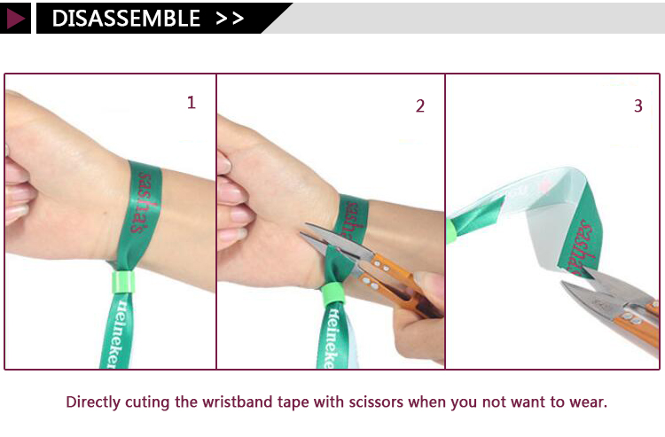 Cheap custom printing cloth security wristband short lanyard bracelet for event