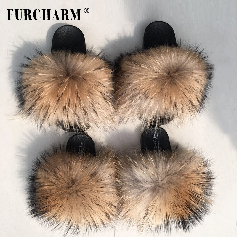 Women's Fashion Raccoon Fur Soft Sandals Wholesale Women <strong>Slippers</strong> Natural Color Fur Slides
