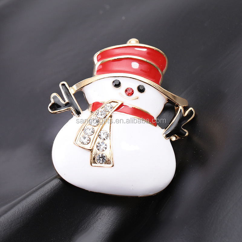 Personalized Christmas Design Snow Flake Hat Bell Badge Snowman Brooch