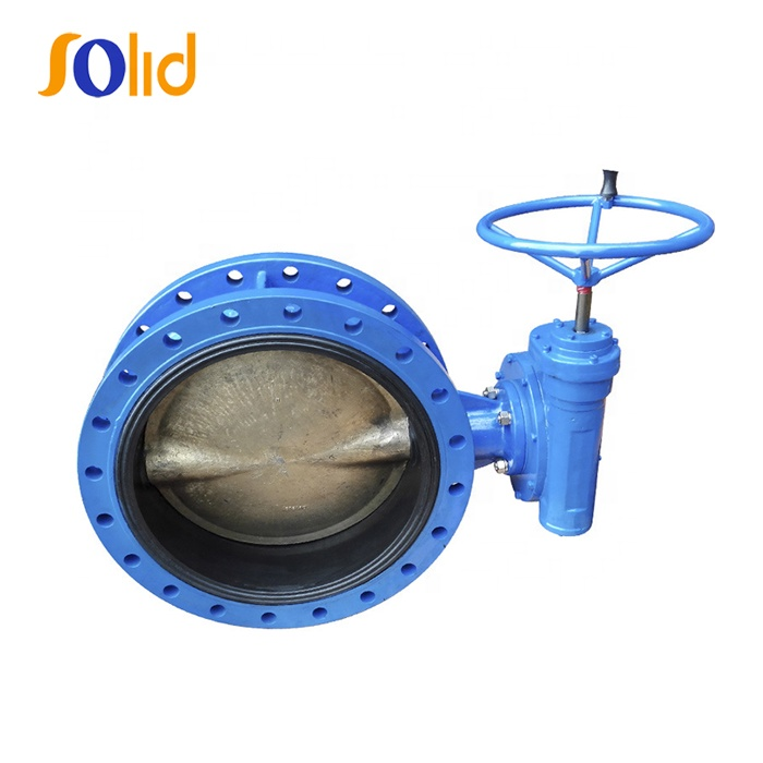 BS EN593 resilient seat double eccentric butterfly valve with Gear Box
