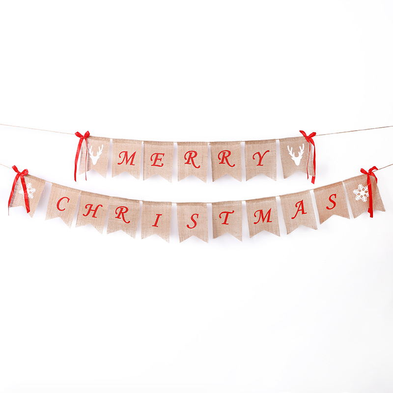 Christmas Home Fireplace decor Bunting Garland Merry Christmas Burlap Banner