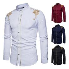 New fashion <strong>Men's</strong> <strong>Shirts</strong> European American Embroidered Long Sleeve Men Dress <strong>Shirts</strong>