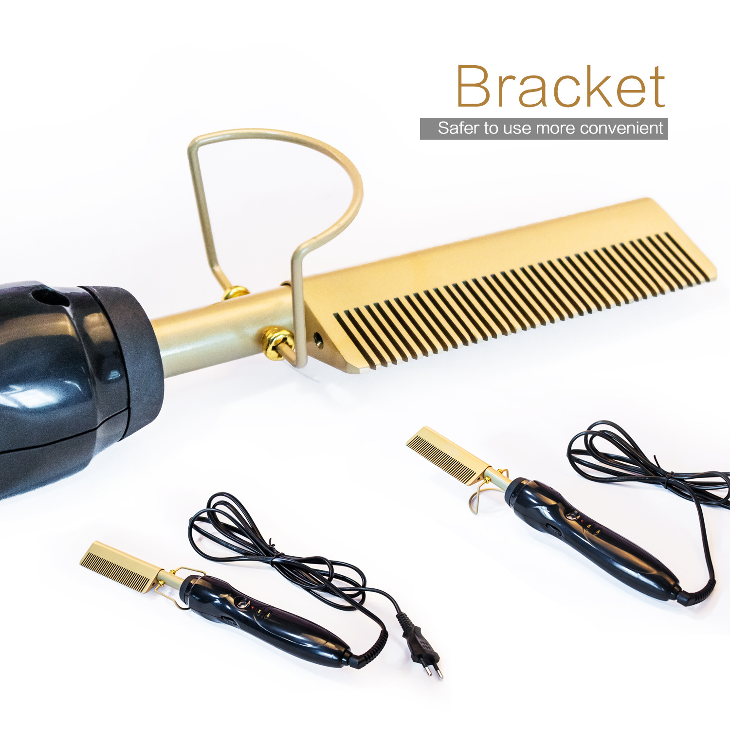 Hot Sale Electric Heating Wet Dry 2 In 1 Hair Straightener Curling Comb