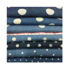 Wholesale thin section 100% Cotton washed dot Printed denim fabric For shirt Children wear