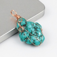 BD-T172 natural irregular shape turquoise pendant,high quality metal wire wrap pendant.