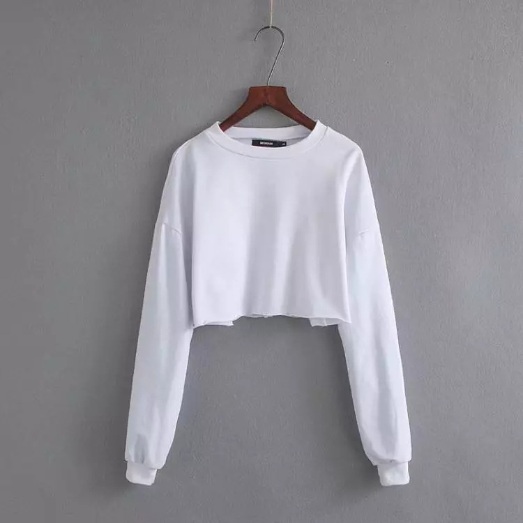 2020 super short crop women sweater custom design oem logo plain blank hoodies