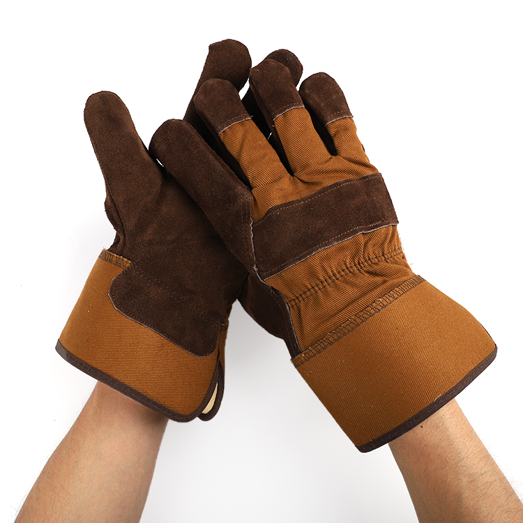 grade AB high <strong>quality</strong> brown thinulate <strong>c100</strong> premium cow split leather durable working gloves