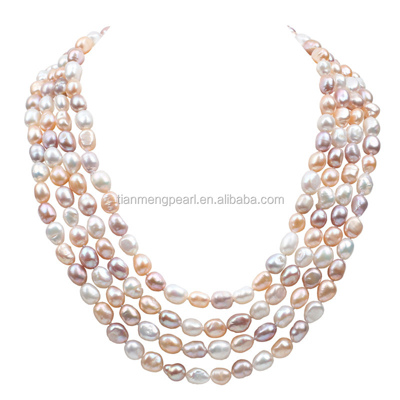 100 inch women sweater chain 8-9mm nice freshwater natural color baroque pearl necklace