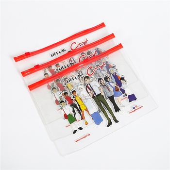 Portable Transparent Printed PVC Pencil Packaging Storage Bag Clear Resealable Zip lock Slider Stationery Pencil Case