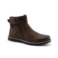 Cheap price brown genuine leather men's casual boots for men shoes