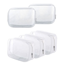 OEM promotional transparent frosted plastic Heat Seal sewing zipper custom clear pvc cosmetic <strong>bag</strong>