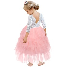 <strong>Girl's</strong> Lace Backless A-line With Corsage Tiered Tutu Tulle Flower Girl Birthday Costume Wedding <strong>Dress</strong>