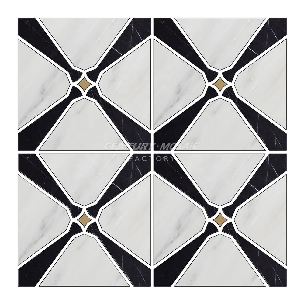 Tile of Love Bianco Carrara Mixed Nero Marquina Mixed Brass Water Jet Mosaic