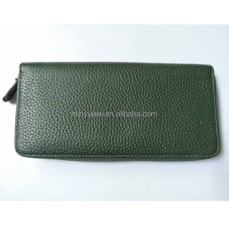 Custom green color leather zipper wallet for women genuine leather wallet