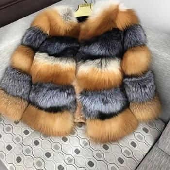 New style cheap fashion winter red and silver fox fur coat for women