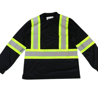 Custom High Visibility Reflective Safety T Shirt With Long Sleeves For Men Construction Hi Viz Work Shirts