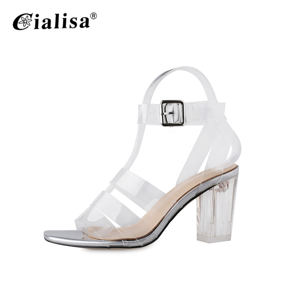 Summer footwear designer women open toe sandals shoes middle heel
