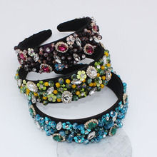 2019 spring hot sell Victoria vintage British Fashion luxury flower beaded wide velvet baroque <strong>headbands</strong>