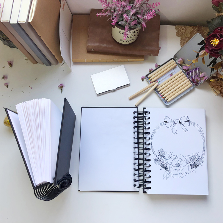 New a5 a4 eco-friendly notebook Colouring  Coloring Book sketch book Printing customized Spiral Sketchbook custom logo