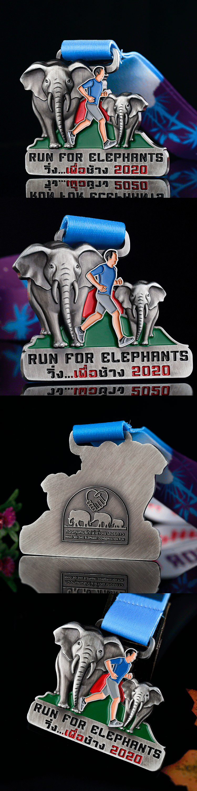 Antique silver 3D zinc alloy custom sports award marathon running medals