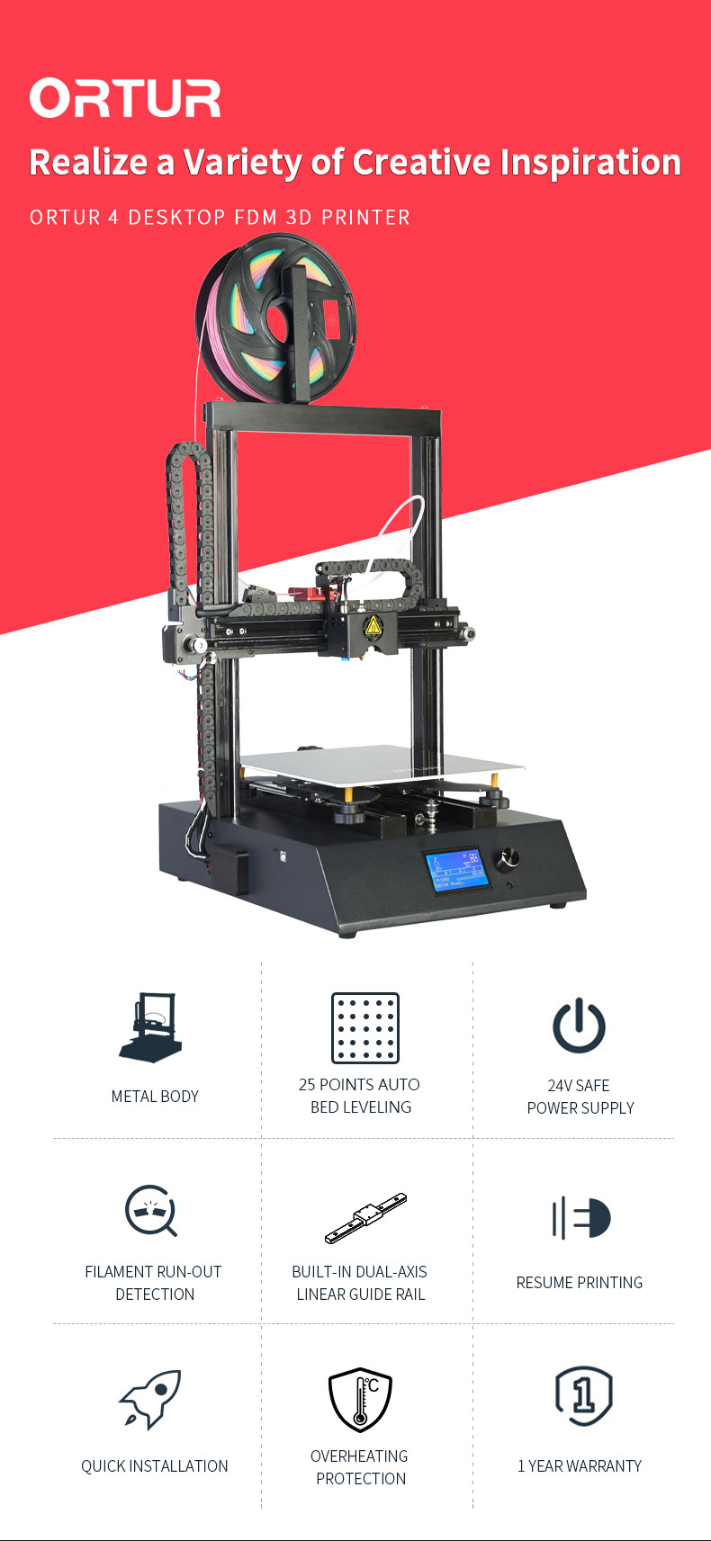 3d Printer Machines Ortur4 25 Points Hotbed Auto Leveling Impresora 3d Product Supply DIY Digital Printers for Novelty Salon