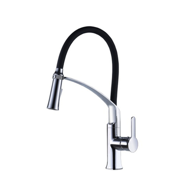 Commercial Style polished chrome black single handle upc pull down kitchen faucet
