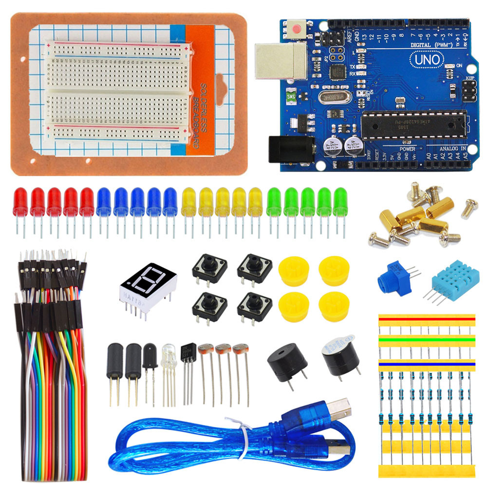 OEM/ODM LED RGB Breadboard 400 Buzzer DHT11 LM35 UNO R3 Kit For Arduino