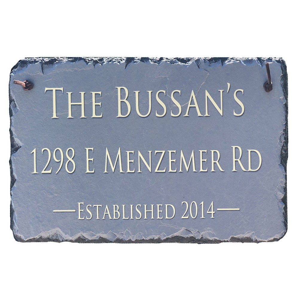 Available in 2 <strong>sizes</strong> 12x6 or 18x8- Beautifully Handcrafted and Customizable Slate Home Address Plaque