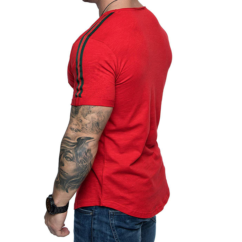 2020 New Summer american apparel fashion custom men's short sleeve t-shirt shoulder splicing design t shirt