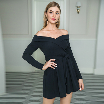 SHEIN Women Casual Sexy Black Long Sleeve Belt Mini Off Shoulder Sexy Asymmetrical Box Pleated Dress