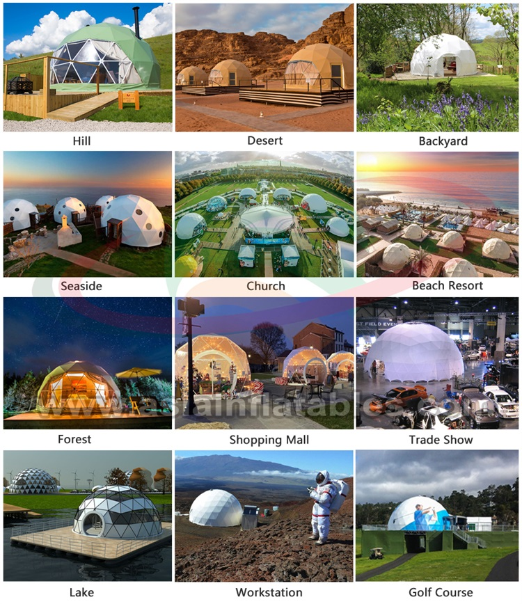 6-30m diameters outdoor geodesic dome house clear greenhouse domes glamping events tent