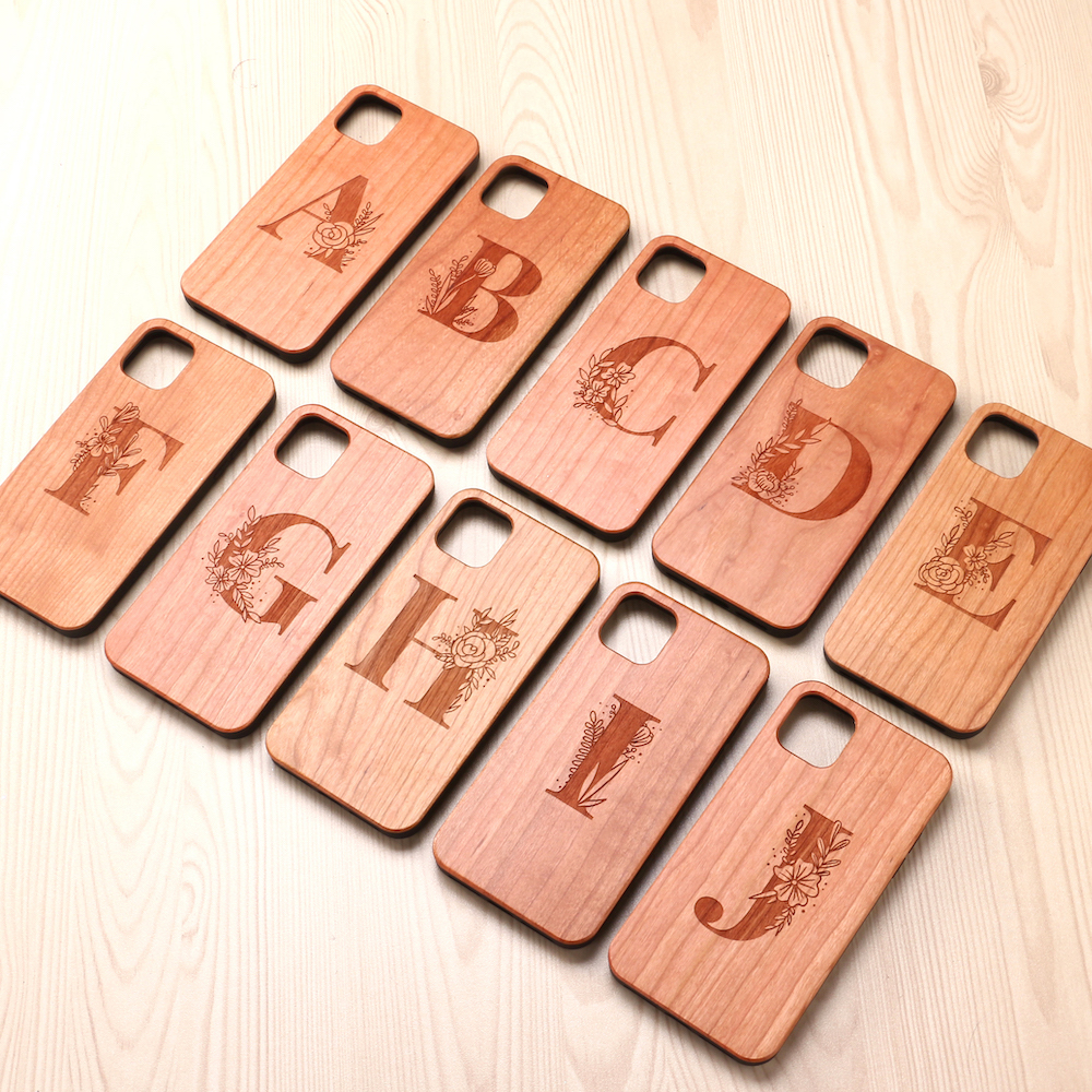 Custom Floral Initials Alphabet A-<strong>Z</strong> Cherry Wood Phone <strong>Case</strong> Coque Funda For iPhone 6 6S 7 7Plus 8 8Plus XR X XS Max 11 Pro Max