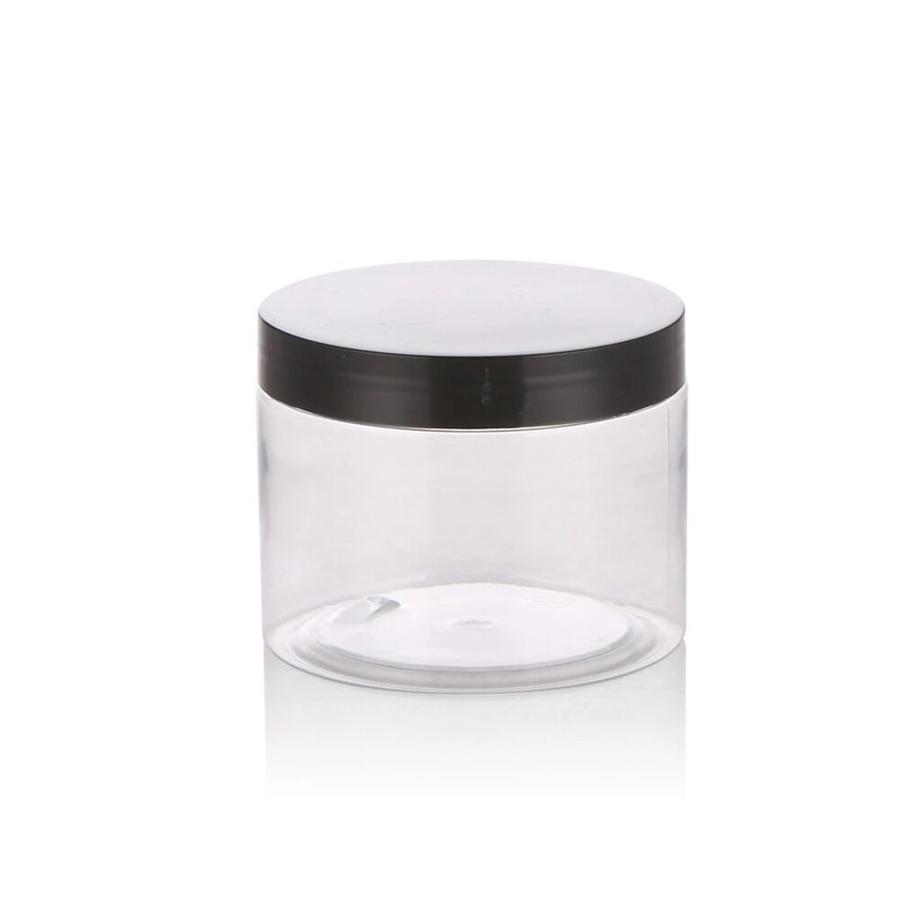 50g 50ml PET cosmetic clear jar container plastic empty facial makeup cream jar with black lid