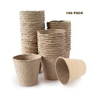Wholesale [100 Pieces] Biodegradable Tray Seedlings Flower Seed Planter Paper Peat Pulp Pots for Plants