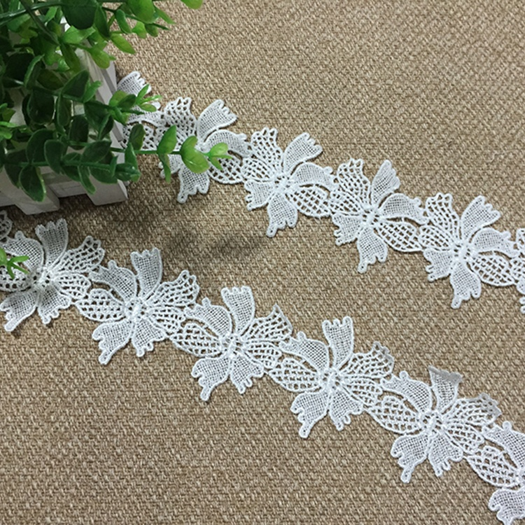2020 100% white cotton lace Water Soluble floral stretch lace trim Embroidery