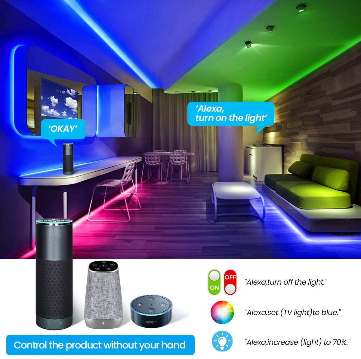 LED Strip Lights WiFi  300 LEDs SMD 5050 Color Changing Kit Work with Alexa Google Assistant