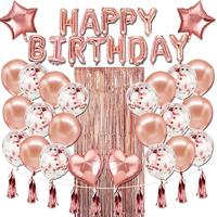 Pafu Rose Gold Birthday Party Supplies Happy Birthday Banner Star Heart Foil Balloons Birthday Party Decorations set